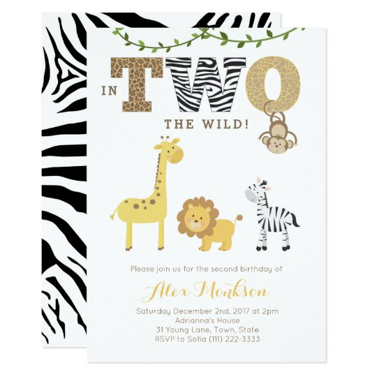 Jungle 2nd Birthday Invites Monkey Giraffe Zebra Invitation