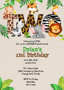 Jungle 2nd Birthday Party Invitations