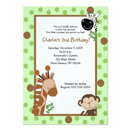 JUNGLE ADVENTURE 5x7 Green Birthday Invitation