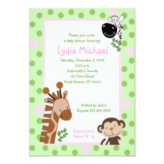JUNGLE ADVENTURE 5x7 Pink / Green Baby Shower 5x7 Paper Invitation Card