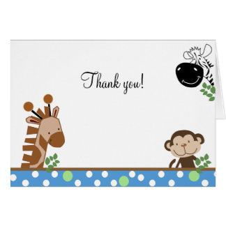 Jungle Adventure (Blue) Folded Thank you notes Stationery Note Card