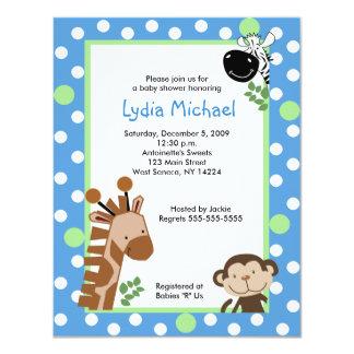 JUNGLE ADVENTURE BLUE Safari Baby Shower 4.25x5.5 Paper Invitation Card