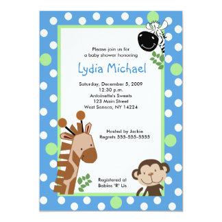 JUNGLE ADVENTURE BLUE Safari Baby Shower 5x7 Paper Invitation Card