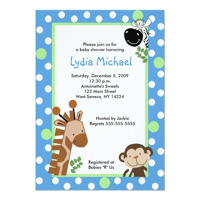 jungle adventure blue safari baby shower card zazzle
