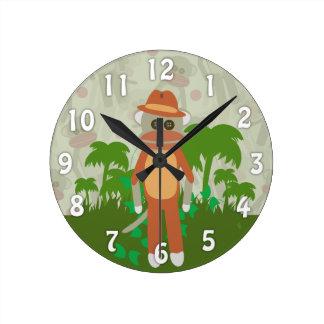 Jungle Adventure Explorer Sock Monkey Round Clock