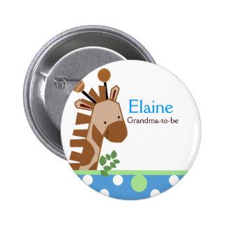 Jungle Adventure Giraffe NAME TAG Custom Button