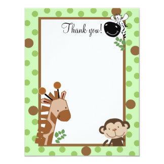 JUNGLE ADVENTURE (Green) 4x5 Flat Thank you note 4.25x5.5 Paper Invitation Card