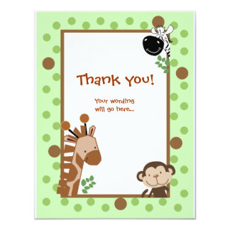 Jungle Adventure Green Baby Shower Thank you notes Card