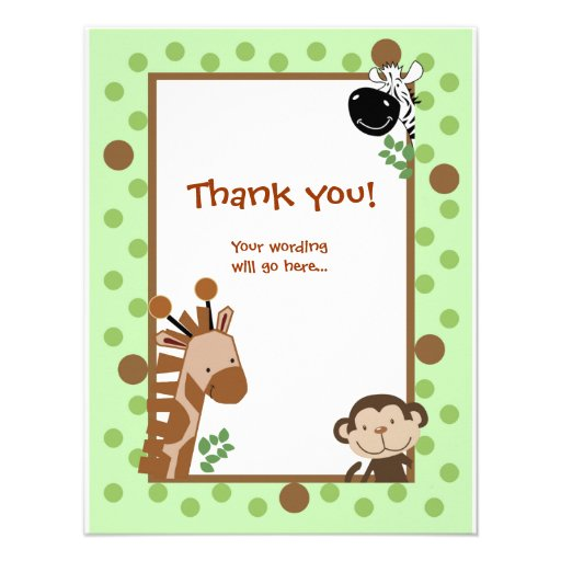 jungle adventure green baby shower thank you notes paper