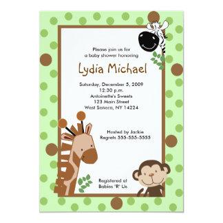 JUNGLE ADVENTURE Green Safari Baby Shower 5x7 5x7 Paper Invitation Card