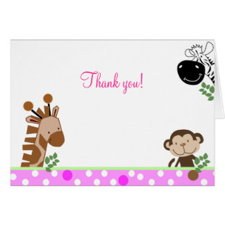 Jungle Adventure (Pink) Folded Thank you notes Stationery Note Card
