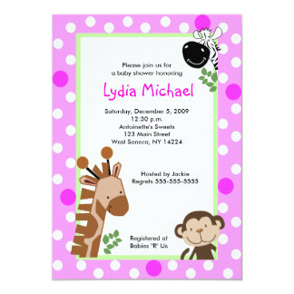 JUNGLE ADVENTURE PINK Safari Baby Shower 5x7 Paper Invitation Card