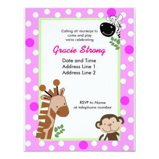 Jungle Adventure Pink Safari Birthday Invitations