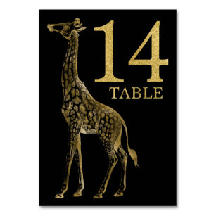 Jungle African Animal Giraffe Table Number Card 14