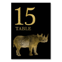 Jungle African Animal Rhino Table Number Card 15