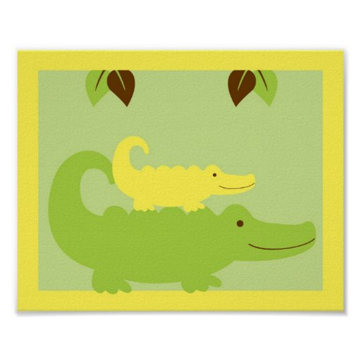 Jungle Animal Alligator Nursery Wall Art Print