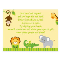 Jungle Animal Baby Shower Book Request Cards