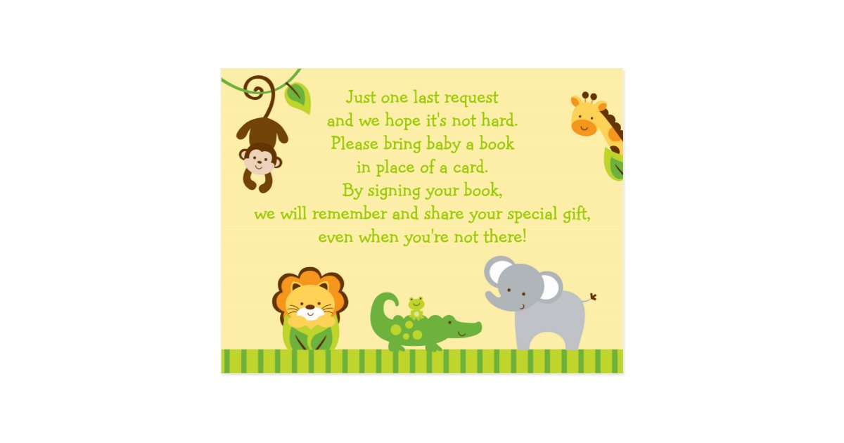 jungle animal baby shower book request cards zazzle