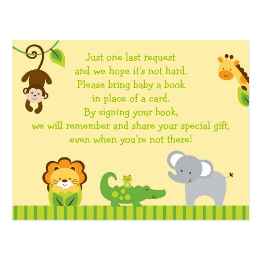 jungle animal baby shower book request cards postcard zazzle