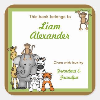 Jungle Animal Baby Shower bookplates