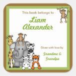 Jungle Animal Baby Shower bookplates Square Sticker