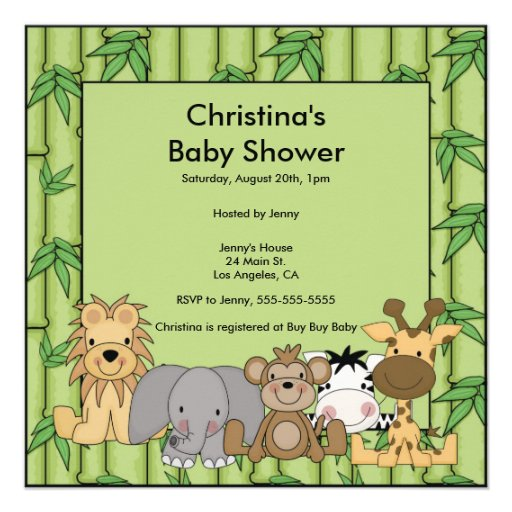 jungle animal baby shower invitation square invitation card