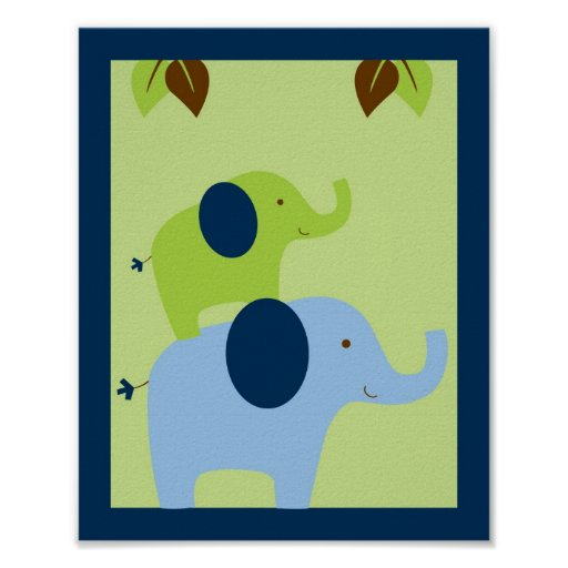Jungle Animal Elephant Nursery Wall Art Print