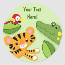 Jungle Animal Favor Stickers Envelope Seals
