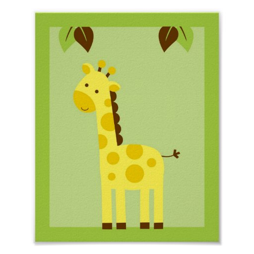 Jungle Animal Giraffe Nursery Wall Art Print