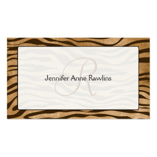 Jungle Animal Print Monogram Initial Double-Sided Standard Business Cards (Pack Of 100)