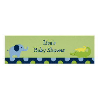 Jungle Animal Safari Baby Shower Banner Sign Poster