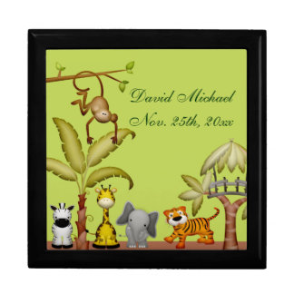 Jungle Animal Safari Celebration Baby Shower Keepsake Box