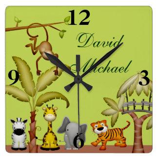 Jungle Animal Safari Celebration Baby Shower Square Wall Clock