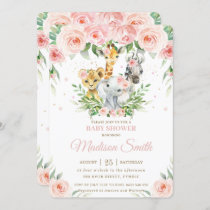 Jungle Animal Safari Pink Blush Floral Baby Shower Invitation