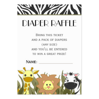 Jungle Animal Theme Diaper Raffle Ticket Large Business Cards (Pack Of 100)