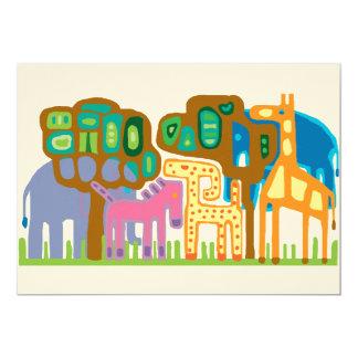 Jungle animals 13 cm x 18 cm invitation card