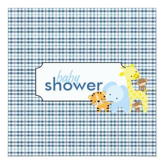 Jungle Animals Baby Boy Shower Invitations