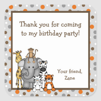 Jungle Animals Baby Shower Birthday Party Favor Square Sticker