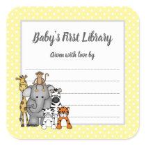 Jungle Animals baby shower bookplate, bring a book Square Sticker