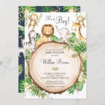 Jungle Animals Baby Shower Greenery Safari Boy Invitation