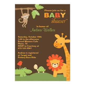 Jungle Animals Baby Shower Invitation Cards