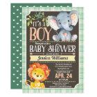 Jungle Animals Baby Shower Invitation Boy