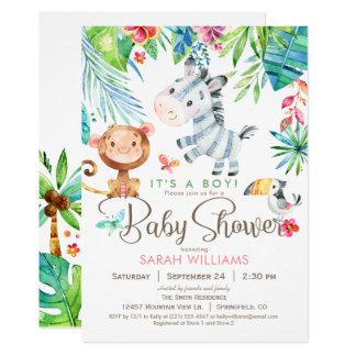 Jungle Animals Baby Shower Invitation, Boy or Girl Card