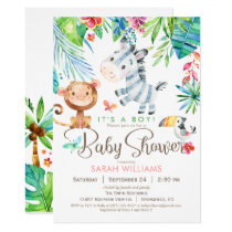 Jungle Animals Baby Shower Invitation, Boy or Girl Invitation