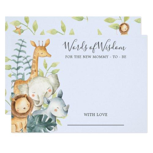 Jungle Animals Baby Shower Words of Wisdom Card