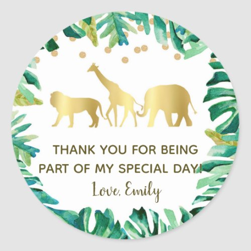 Jungle animals birthday baby shower favor label