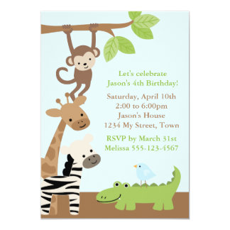 Jungle Animals Birthday Custom Invite