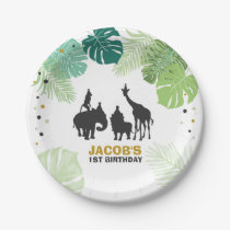 Jungle animals birthday Paper Plates Safari Zoo