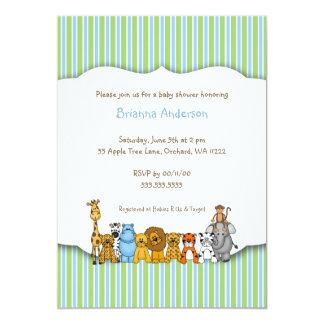 Jungle Animals Blue Green Stripe Baby Shower Card