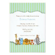 Jungle Animals Blue Green Stripe Baby Shower Invitation